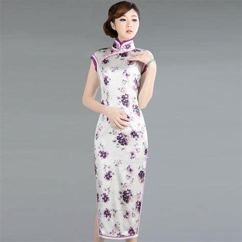 Cheongsam Top Purple Blue Size Lxl 1 Cheongsam White Purple Flowers 1
