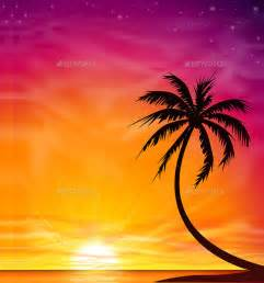 colorful palm trees 20 sunset vector graphics vectors designtrends