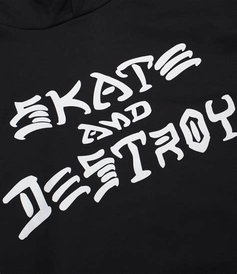 thrasher skate and destroy hood black