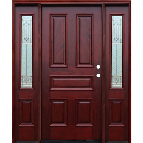 Front Door Panel Pacific Entries 66in X82in Traditional 5 Panel Stained Mahogany Wood Prehung Front Door W 6 In
