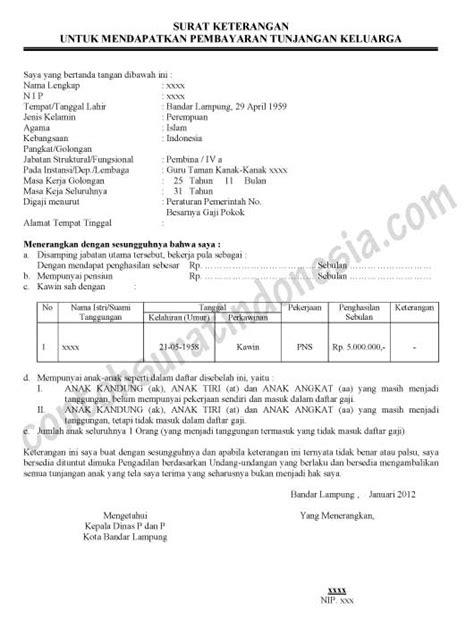 surat keterangan untuk mendapatkan tunjangan keluarga pns
