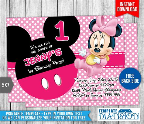 baby minnie mouse birthday invitation by templatemansion