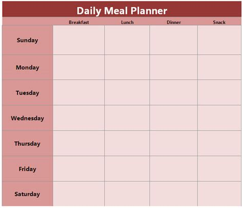 Daily Planner Template Search Results Calendar 2015 Daily Meal Planner Template