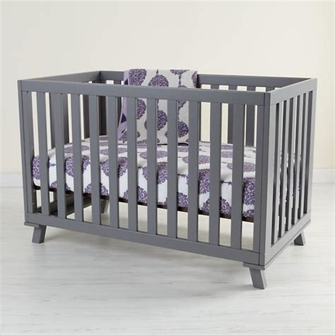 Grey Baby Cribs Baby Painted Grey Low Rise Modern Crib The Land Of Nod