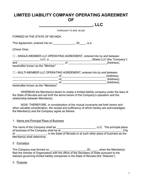 free nevada llc operating agreement forms pdf word
