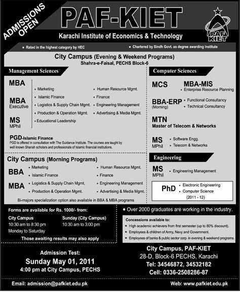 Aptitude Test Of Mba In Karachi by Paf Kiet Karachi Admission 2011
