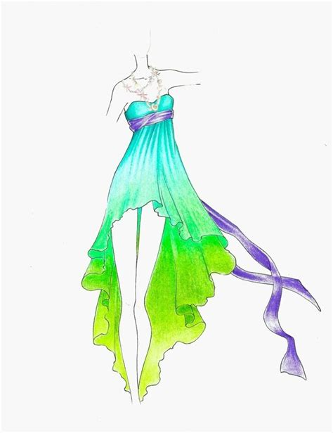 clothes design easy green and blue summer dress sketch fashion sketches