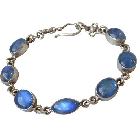 Vintage Sterling Silver & Blue Moonstone Oval Link Bracelet from crystazzle on Ruby Lane