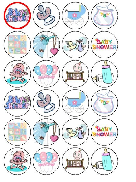 Baby Shower Card Cupcake Template by 24 X Baby Shower Edible Wafer Paper Bun Cup Cake Top Toppers