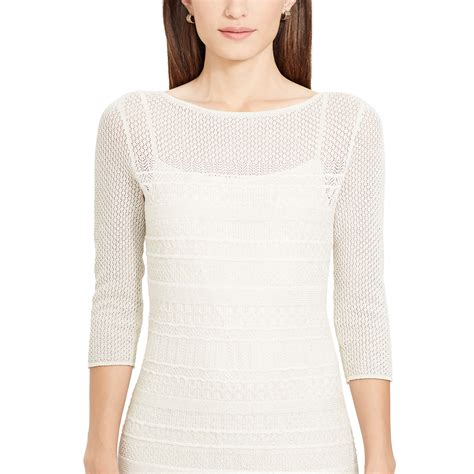 white knit dress ralph metallic pointelle knit dress in white lyst
