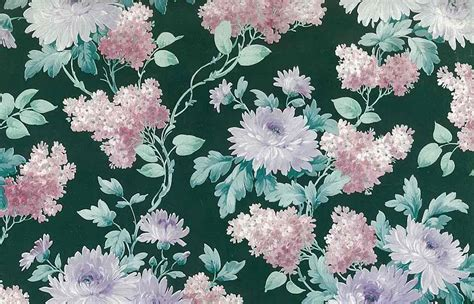 Floral In Green green floral vintage wallpaper pink white purple lilacs