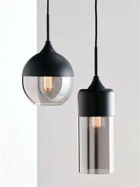 new lunar 1 light small cylinder pendant in black smoke