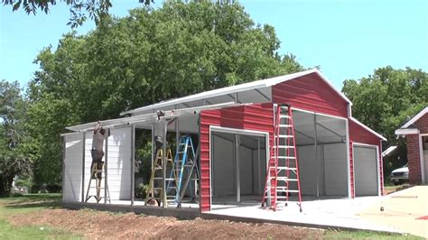 Shop With Living Quarters Floor Plans by Stallion Carports Texas On Site Barn Metal Carports Youtube