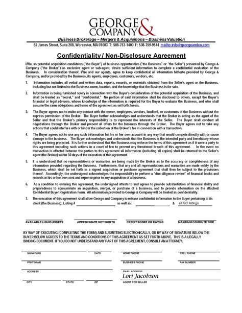 Non Disclosure Agreement Letter Of Intent non disclosure agreement sle free printable documents