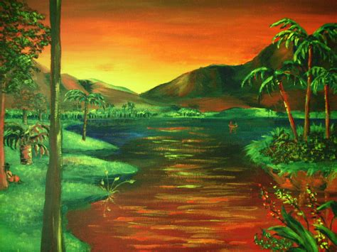 acrylic painting nature acrylic landscape painting mountains and palm trees original