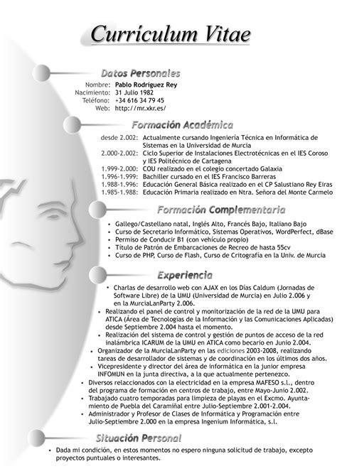 Modelo De Curriculum Vitae Y Sus Partes tipos de curriculum vitae