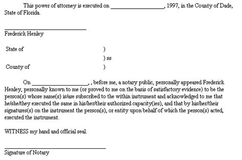 Exle Document For General Power Of Attorney Notarized Power Of Attorney Template