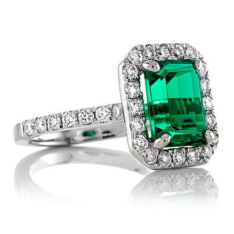 emerald engagement ring 14k white gold emerald 5x7mm and
