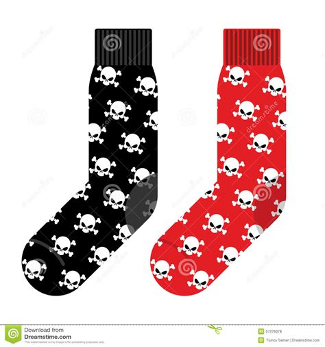 black and socks with skull vector illustration
