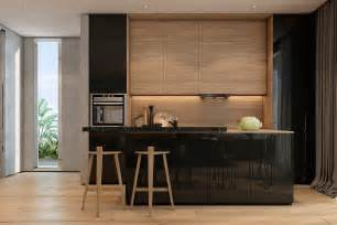 Modern Wood Kitchen Cabinets two apartments with texture one soft one sleek