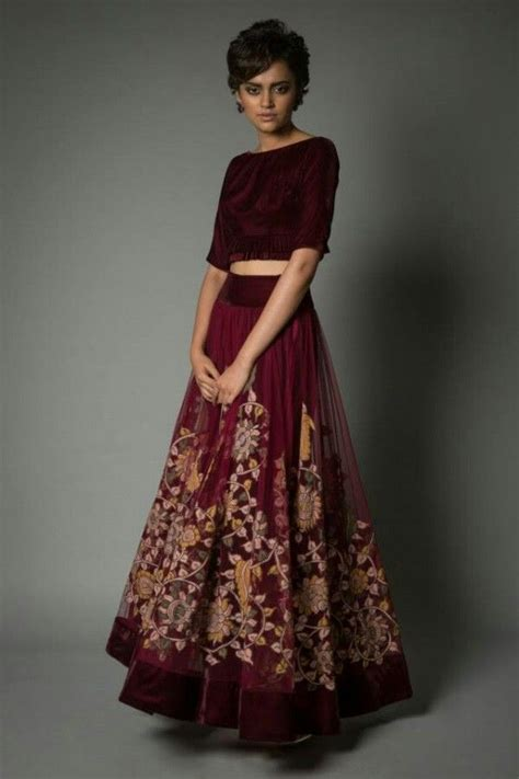 Sianka Set 2 In 1 Mustard Maroon velvet blouse and sheer lehenga with beautiful embroidered