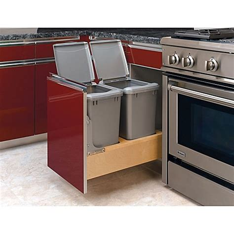 double 35 qt top mount wood pull out trash containers rev buy rev a shelf 174 wood double 35 qt pull out waste