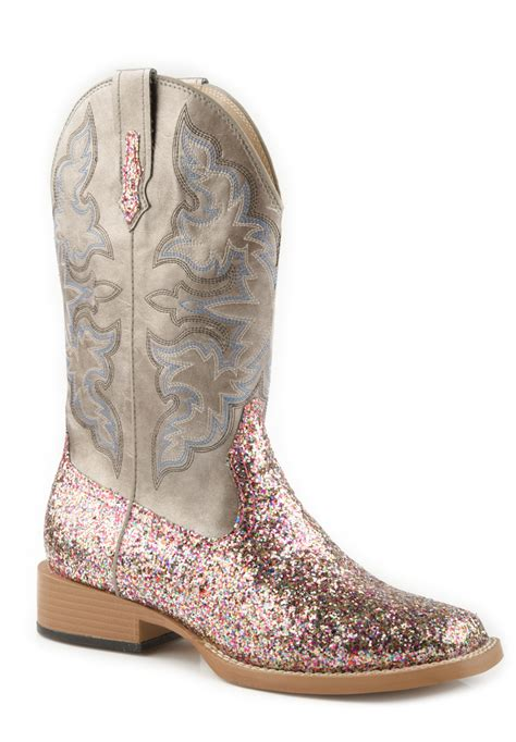 sparkly cowboy boots roper womens square toe fancy faux leather zebra glitter