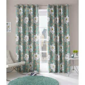 Blue Floral Curtains Buy Aqua Blue Issy Floral Ring Top Curtains More Curtains Available