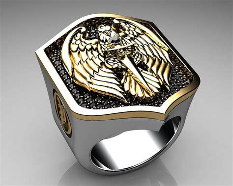 unique mens ring eagle shield ring sterling silver and gol