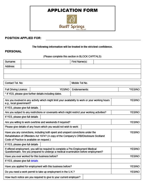 Uk Application Recruitment Banff Springs The Hotel