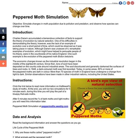 Peppered Moth Simulation Worksheet Answers peppered moth worksheet photos newpcairport