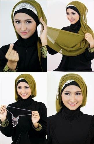 tutorial jilbab elegan cara memakai jilbab segi empat elegan