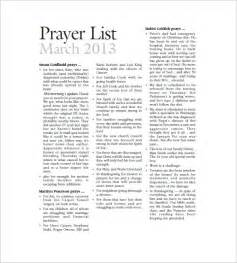 prayer template prayer list template 8 free sle exle format