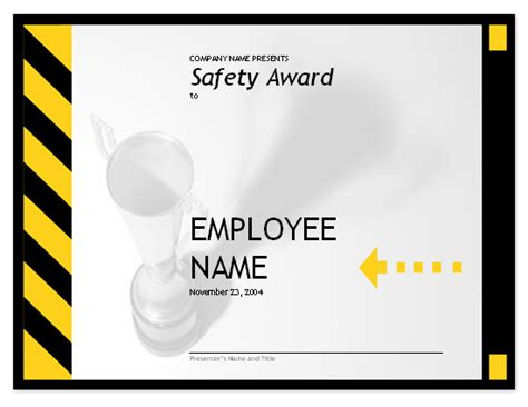 employee safety award free certificate templates in