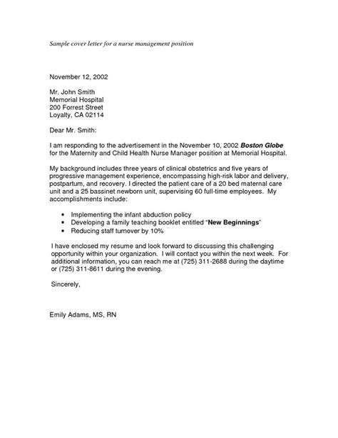 cover letter for a management position sle nursing application cover letters sle cover