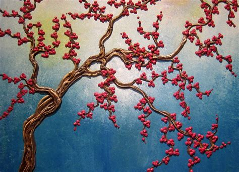 cherry tree yearbook turquoise cherry blossom tree painting three dimensional branches and flowers 3d wall