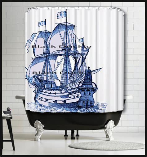 ship shower curtain blue sailing ship shower curtain tall ship shower curtain