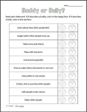 printable of the week buddy or bully worksheet