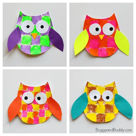 printable art activities for toddlers sponge painted owl craft for kids with owl template