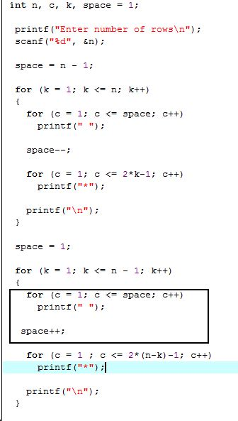 diamond pattern in c using for loop c diamond shape output with for loops stack overflow
