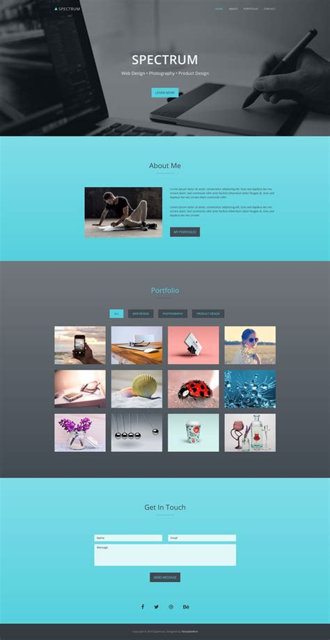 spectrum one page portfolio template bootstrap templates