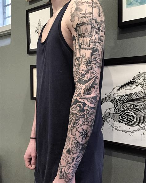 nautical tattoo sleeve regardez cette photo instagram de veenom bleunoir 970 j
