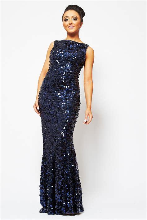 Dress Shiny koo ture marilyn navy floor length large shiny sequin