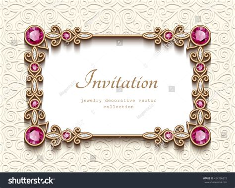 card decorations template vintage card jewelry decoration gold stock vector