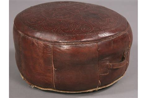 vintage round ottoman vintage round leather ottoman