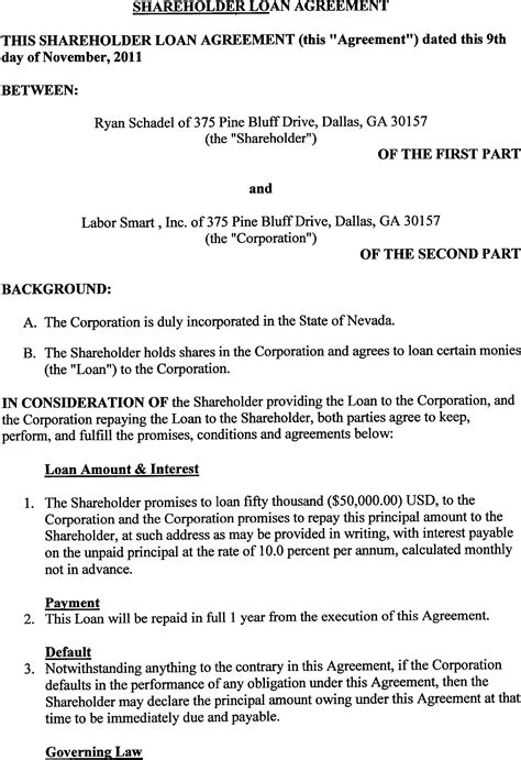 Shareholder Loan Agreement Template labor smart inc form s 1 a ex 10 1 shareholder loan agreement december 2 2011