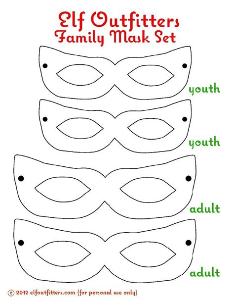 printable mask for elf on the shelf elf outfitters family mask set free printable from