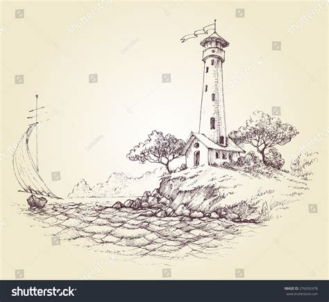 boat and lighthouse drawing lighthouse vector drawing seascape sailboat sea stock