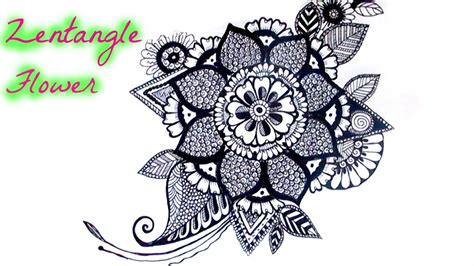 how to draw zentangle flowers google search art draw a zentangle flower youtube