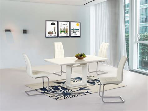 White Gloss Dining Room Table New White High Gloss Extending Dining Room Table 4 White Chairs